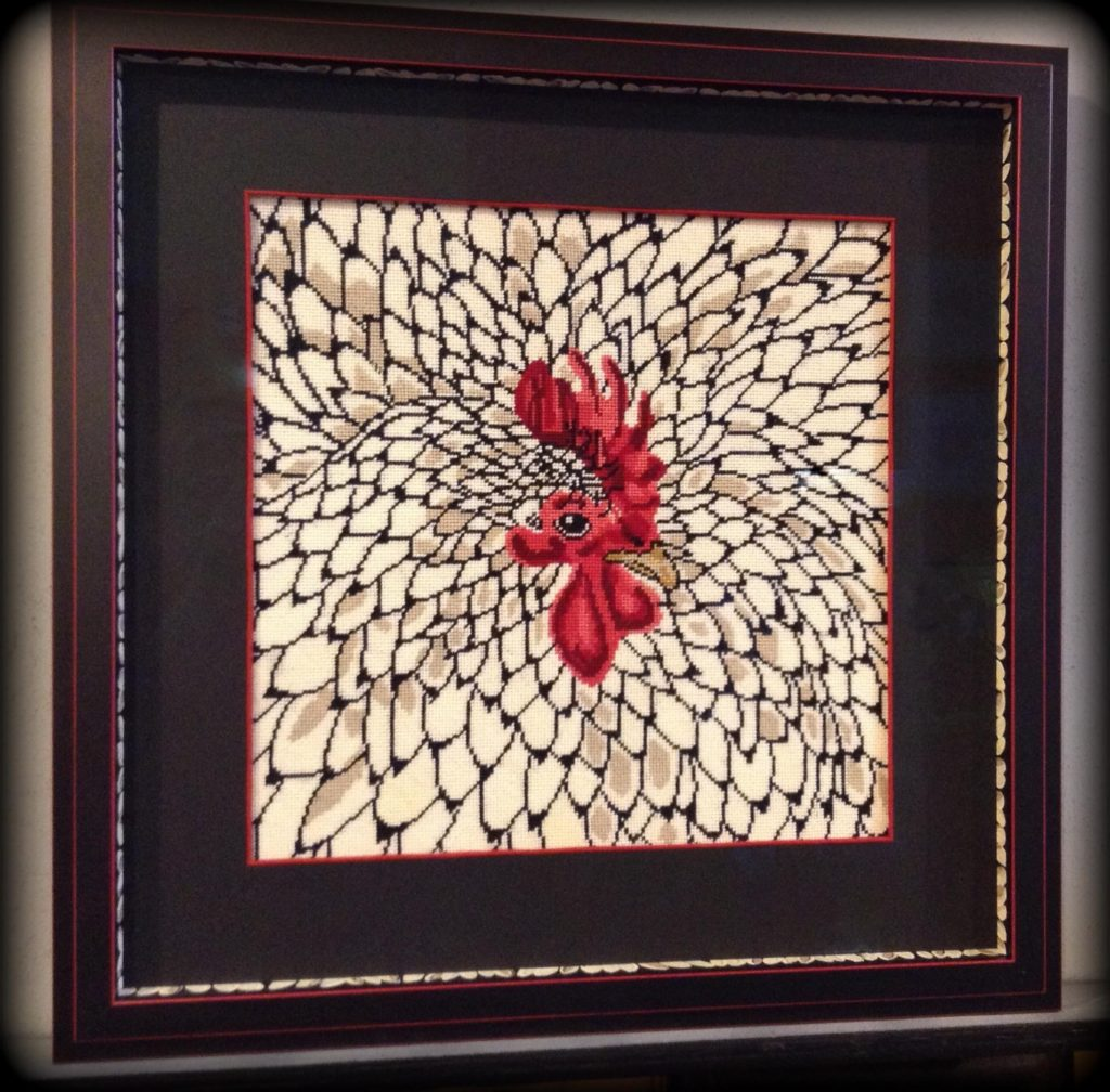 Artisans Corner Gallery Custom Picture Framing Needlepoint framed with hand Painted spacer accent