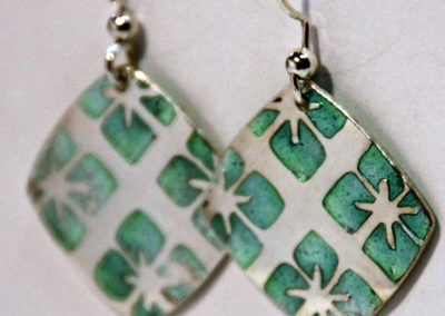 Artisans Corner Gallery Terri Hickey Jewelry Champleve green Earrings