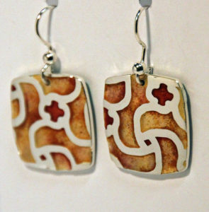 Artisans Corner Gallery Terri Hickey Jewelry Red Champleve Earrings