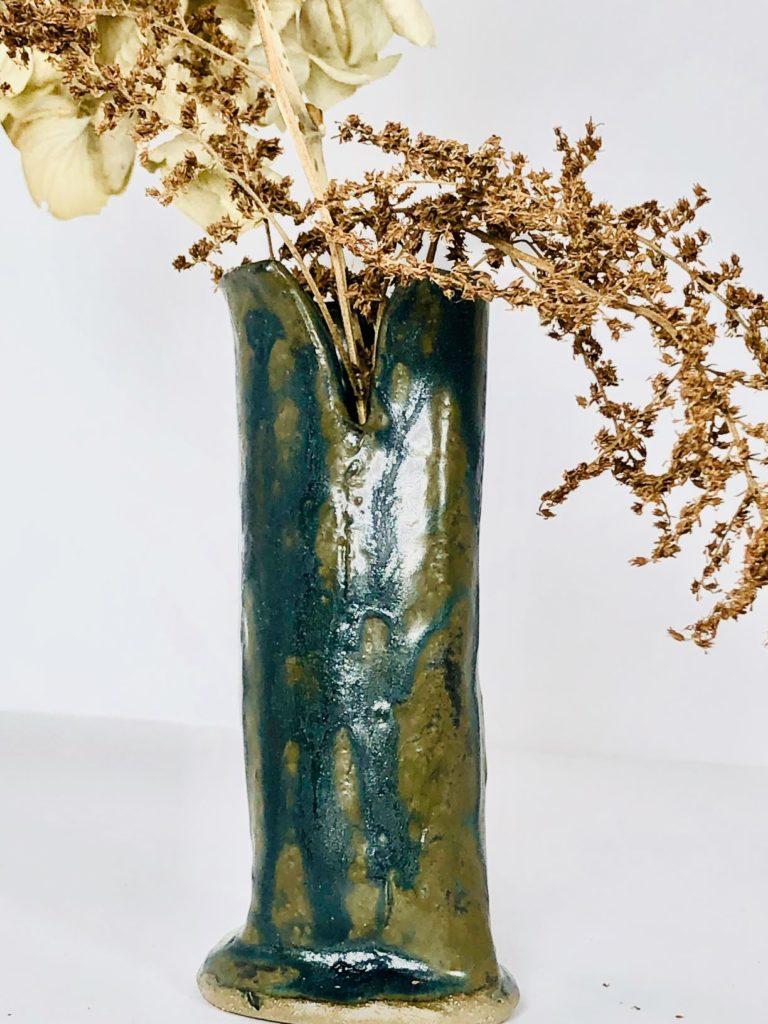 Artisans Corner GAllery KC Henry Organic Pottery blue green