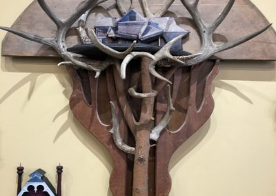 Re-found objects Assemblage Artwork Antlers and House