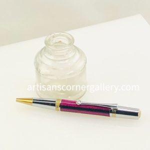 Purple Black striped Wood Ballpoint pen