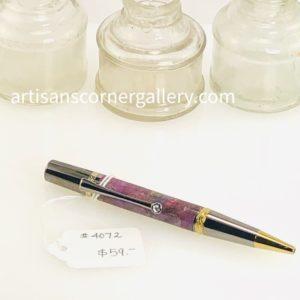 Pink-Purple handmade wood Ballpoint Pen