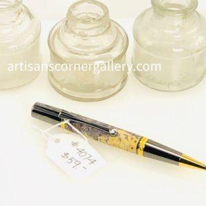 Yellow dyed handmade Wood Ballpoint Pen