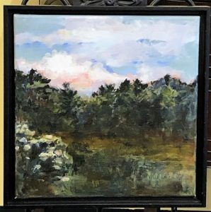 Oil painting landscape Trees and Sky