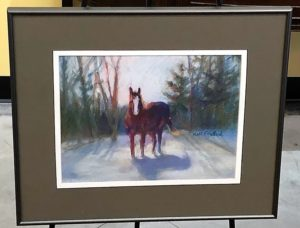 Horse in the Snow Pastel Artwork