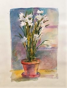 Water Color & Pastel of Paper whites Artwork