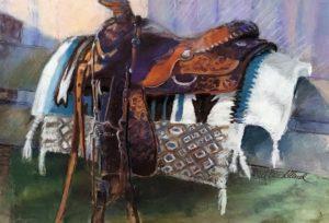 Saddle & Blankets Pastel Painting