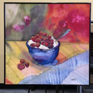 Hand-dyed Silk Painting of a Berry Sunday