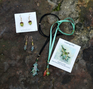Enamel leaves and glass beads jewelry