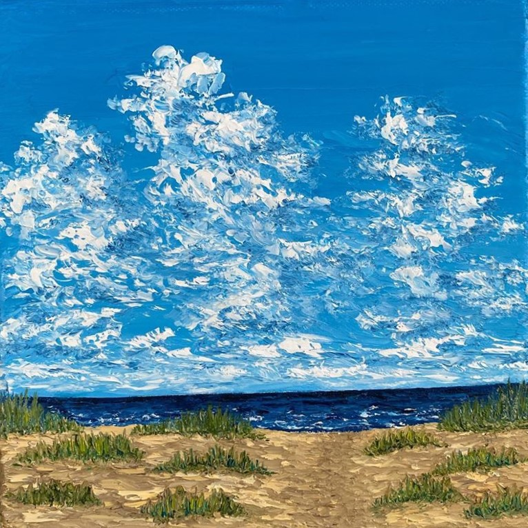 Oil Painting Beach with Blue Sky