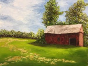 Oil Painting Red Barn
