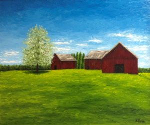 Oil Painting Landscape Red Barn