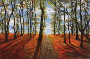 sunset-through-trees-painting
