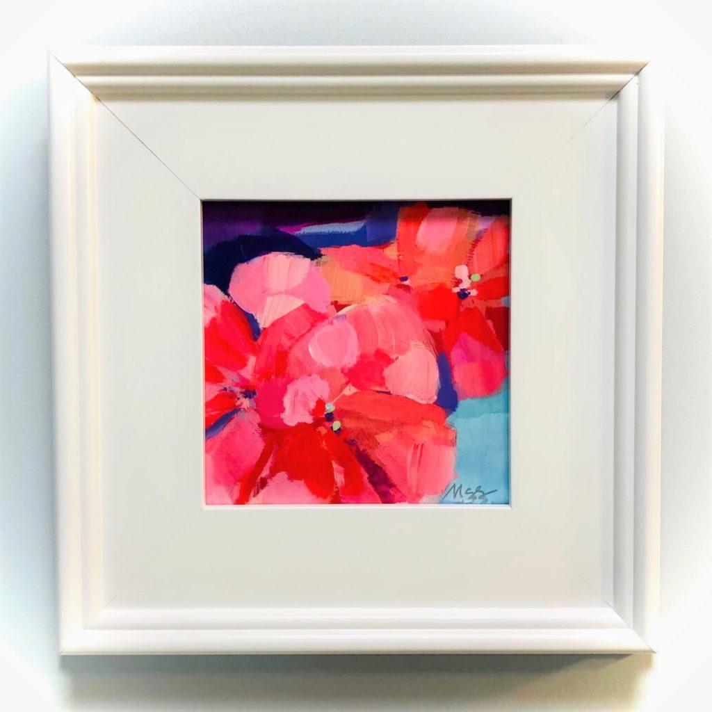 framed peach & orange flowers painting